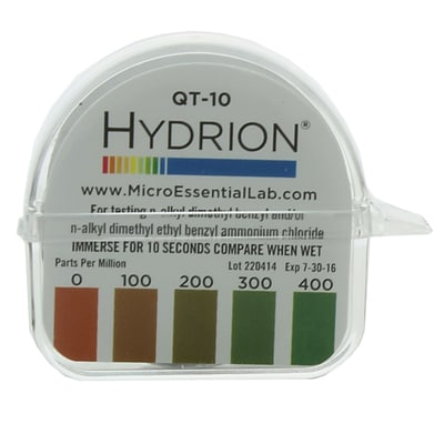 Micro Essential Lab Hydrion Quaternary Test Paper; 0-400ppm, 10/Case (MES QT-10 CS)