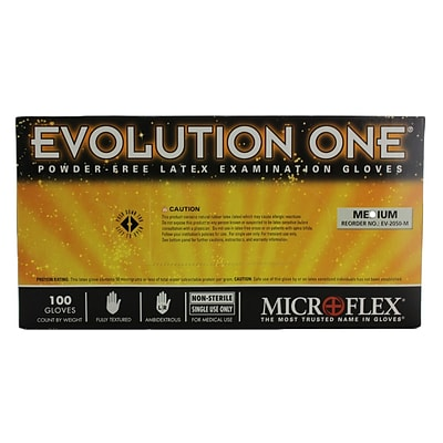 Micro flex Evolution One Latex Gloves, Medium, 100/Pack