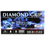 Micro flex Diamond Grip Latex Gloves, Medium, 100/Pack