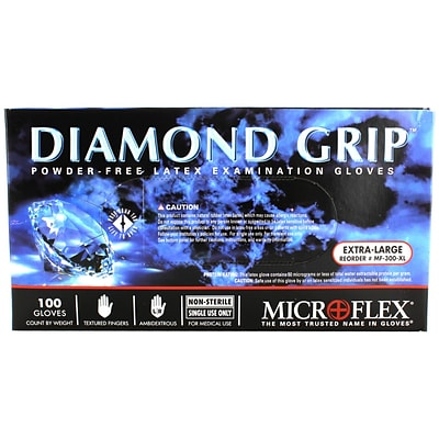 Micro flex Diamond Grip Latex Gloves, X-Large, 100/Pack