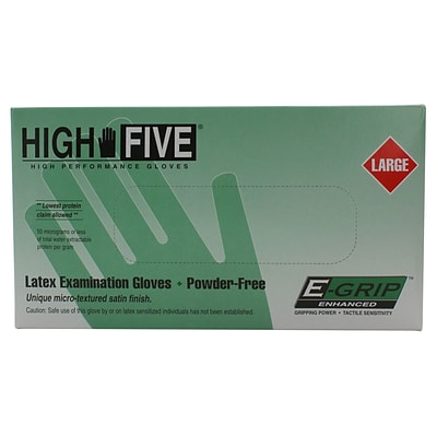 High Five Gloves, Latex, 5mil, Large, Natural, 1000/case
