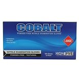 High Five Products Inc Nitrile Gloves; 4mil, Cobalt, Large, 1000/Case