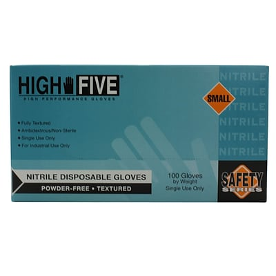 High Five Products Inc Industrial Nitrile Gloves; 4 mil, Small, 1000/Case