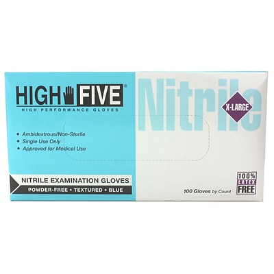 High Five Products Inc Nitrile Gloves, X-Large,  100/Pack