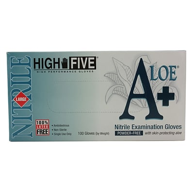 High Five Products Inc A+ Aloe Nitrile Gloves; 4 mil, Large, 10/Pack