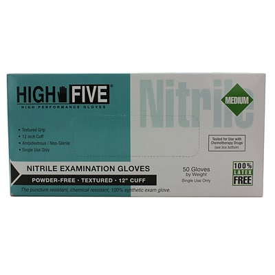 High Five Products Inc Nitrile Long Cuff Gloves, Medium, 50/Pack