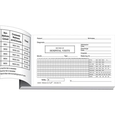 Medical Arts Press® Log of Hospital Visits, Pocket-Sized, 2-Part