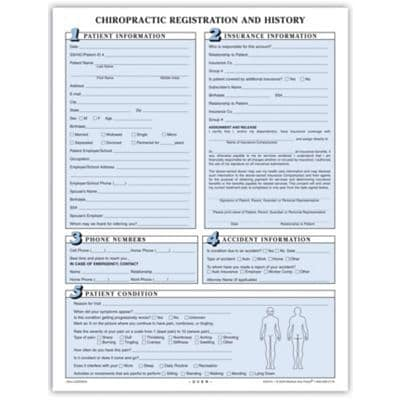 Chiropractic Registration and History Form without Updates, Sky Blue