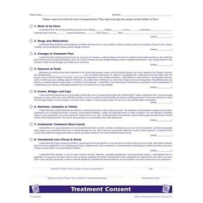 Medical Arts Press® Dental Treatment Consent Form; 1-Sided
