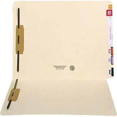 Medical Arts Press® Extended End-Tab Folders w/2 Fasteners, Fastener Positions 1 & 3, 14 Pt.
