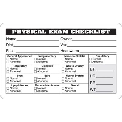 Veterinary Examination Medical Labels, Physical Exam Checklist, White, 2.5 x 4 inch, 100 Labels