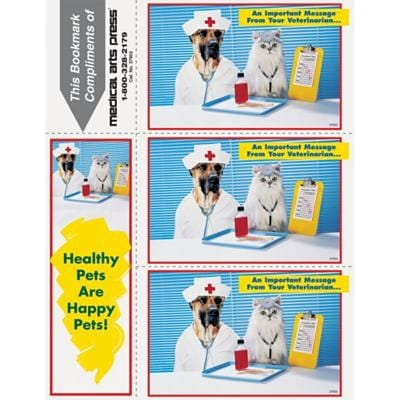 Humorous 3-Up Laser Postcards with Bookmark, Doctor Cat, Nurse Dog