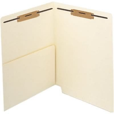 Medical Arts Press® 11 Pt. Manila End-Tab Pocket Folders, 1st & 3rd Position Fasteners, 50/Bx