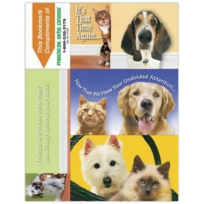 Humorous 3-Up Laser Postcards with Bookmark, Cats/Dogs That Time Again