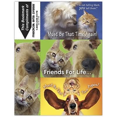 Humorous 3-Up Laser Postcards with Bookmark, Cats/Dogs You Tell Them