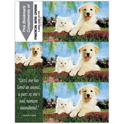 Photo Image 3-Up Laser Postcards with Bookmark, Dog/Cat Fence