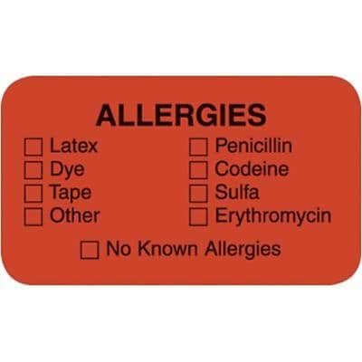 Medical Arts Press® Allergy Warning Medical Labels, Allergies, 0.875 x 1.5 inch, 500 Labels