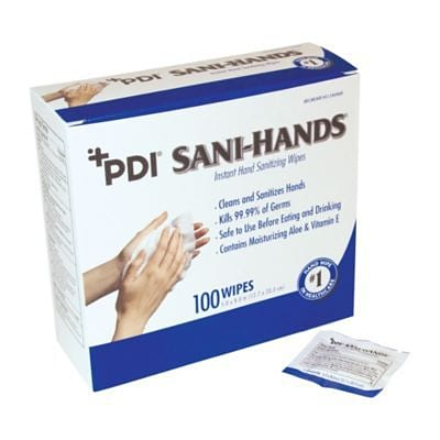 PDI Sani-Hands ALC Hand Wipes, Packets, 100 Count