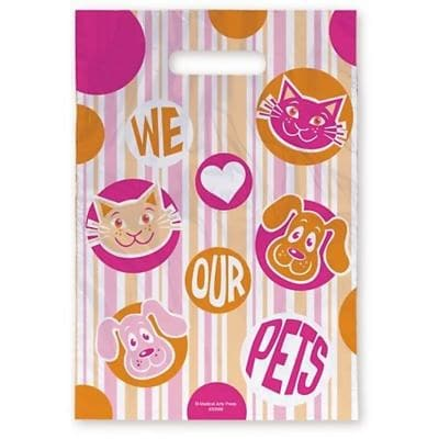 Medical Arts Press® Veterinary Scatter Print Bags, 9x13,  Pink and Orange Pets