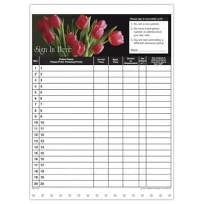 Medical Arts Press® Privacy Sign-In Sheets, Tulips