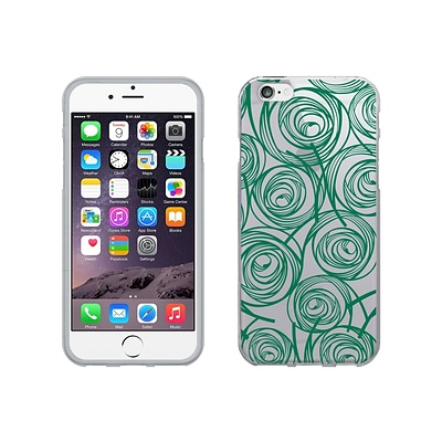 OTM Classic Prints Clear Phone Case for iPhone 6 Plus; New Age Swirls of Jade (IP6PCLR-AGE-02V2)