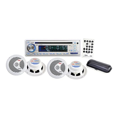 Pyle® PLCD8MRKT CD/USB/MP3/Combo Marine Waterproof 4 Speaker Audio Accessory Kit; White