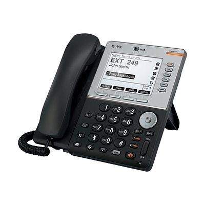 AT&T Syn248 5 LCD 8 Line Corded Deskset VoIP Phone; Black/Silver
