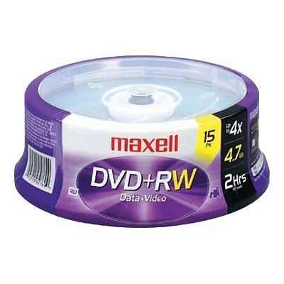 Maxell® 634046 4.7GB 4x DVD Rewritable Media; 15/Pack