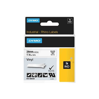 Dymo® Rhino 1805430 1 Color Coded Vinyl Label Tape; Black On White