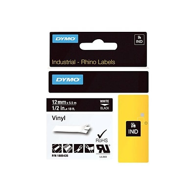 DYMO Rhino Colored Vinyl 1805435 Printer Label, 1/2W, White on Black