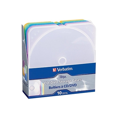 Verbatim® TRIMpak Plastic CD/DVD Jewel Case; Assorted, 10/Pack