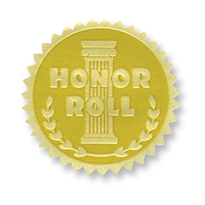 Flipside Gold Foil Embossed Seal; Honor Roll, 54/Pack