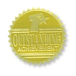 Flipside Gold Foil Embossed Seal; Outstanding Achievement, 54/Pack