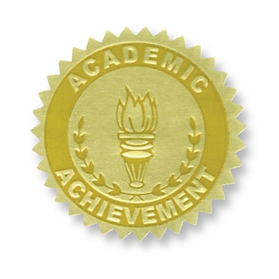 Flipside Gold Foil Embossed Seal; Academic Achievement, 54/Pack