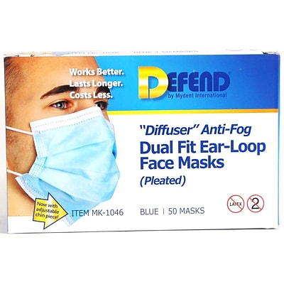 Defend® Anti-Fog Diffuser Pleated Face Mask With Ear Loop; Blue, 50/Box