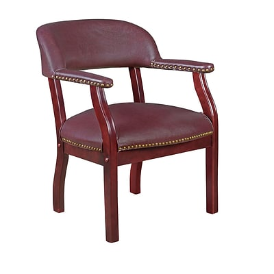 Regency 9004BY Vinyl & Wood Ivy League Captains Chair with Arm, Burgundy