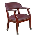 Regency 9004CBY Vinyl & Wood Ivy League Captains Chair with Arm, Burgundy