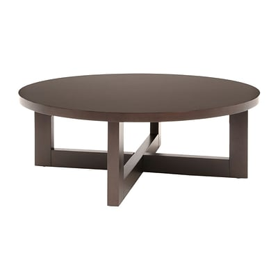 Regency Wood Round Veneer Coffee Table, Mocha Walnut