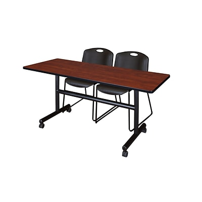 Regency 60-inch Metal & Wood Flip Top Training Table with Zeng Stack Chairs, Cherry