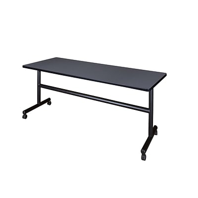 Regency 72-inch Metal & Wood Flip Top Mobile Training Table, Gray