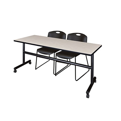 Regency 72-inch Metal & Wood Kobe Flip Top Training Table with Zeng Stack Chairs , Maple