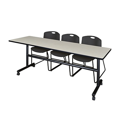 Regency Kobe 84 Flip Top Mobile Training Table, Maple & 3 Zeng Stack Chairs, Black (MKFT8424PL44BK)
