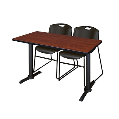 Regency Cain 48x24 Rectangular Cherry Training Table w/2 Black Zeng Stack Chairs (MTRCT4824CH44BK)