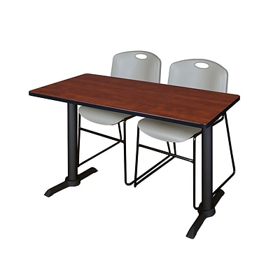 Regency Cain 48 x 24 Training Table, Cherry and 2 Zeng Stack Chairs, Gray (MTRCT4824CH44GY)