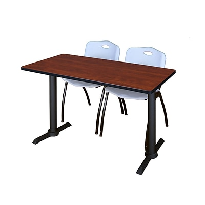 Regency Cain 48 x 24 Training Table, Cherry and 2 M Stack Chairs, Gray (MTRCT4824CH47GY)