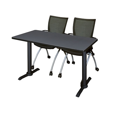 Regency Cain 48 x 24 Training Table, Gray and 2 Apprentice Chairs, Black (MTRCT4824GY09BK)