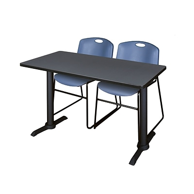 Regency Cain 48 x 24 Training Table, Gray and 2 Zeng Stack Chairs, Blue (MTRCT4824GY44BE)