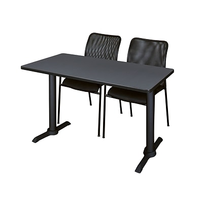 Regency Cain 48 x 24 Training Table, Gray and 2 Mario Stack Chairs, Black (MTRCT4824GY75BK)