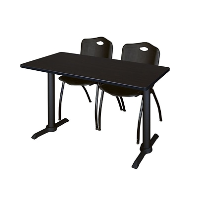 Regency Cain 48 x 24 Training Table, Mocha Walnut and 2 M Stack Chairs, Black MTRCT4824MW47BK()