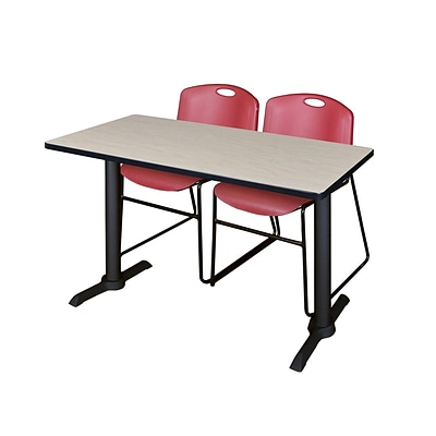 Regency Cain 48 x 24 Training Table, Maple and 2 Zeng Stack Chairs, Burgundy (MTRCT4824PL44BY)